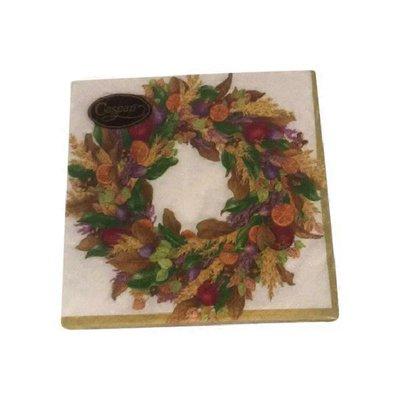 Caspari Ivory Autumn Wreath Paper Cocktail Napkins