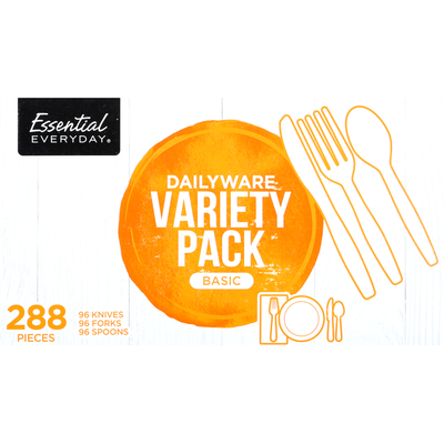Essential Everyday Knives/Forks/Spoons, Basic, Dailyware, Variety Pack