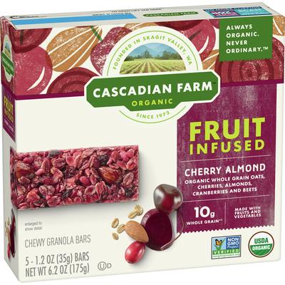 Cascadian Farm Cherry Almond Fruit-Infused Chewy Granola Bar, 5 Bars