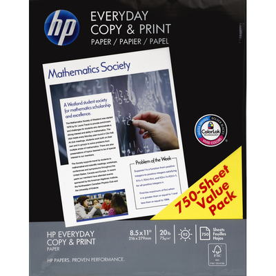 HP Paper, Everyday Copy & Print, 20 lb, Value Pack