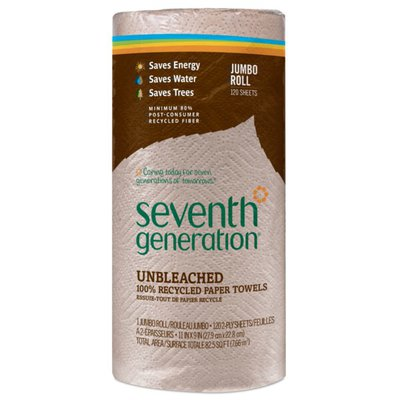 Seventh Generation Paper Towels 100% Recycled Paper, Unbleached