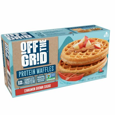Off the Grid Frozen Waffles, 12g of Complete Protein, Cinnamon Brown Sugar
