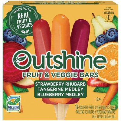 Outshine Fruit & Veggie Bars Strawberry Rhubarb, Tangerine Medley, Blueberry Medley