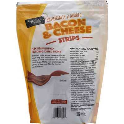 Signature Pet Dog Treats, Bacon & Cheese, Strips