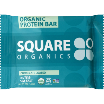 Square Organics Protein Bar, Organic, Nuts & Sea Salt, Chocolate Coated