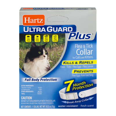Hartz Ultra Guard Plus Flea & Tick Collar for Cats and Kittens, Fresh Scent White