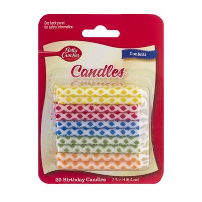 Betty Crocker Birthday Candles, Confetti, 2.5 Inch