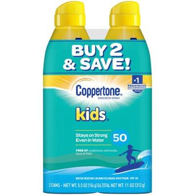 Coppertone Kids Sunscreen Spray SPF 50, Twin Pack
