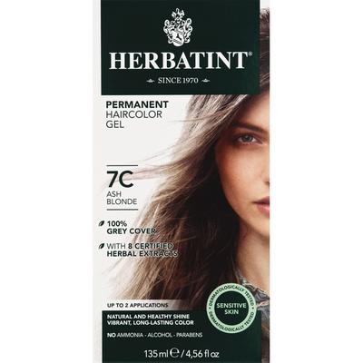 Herbatint Permanent Haircolor Gel, Sensitive Skin, Ash Blonde 7C