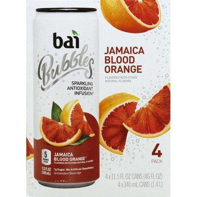 Bai Antioxidant Beverage, Jamaica Blood Orange, Bubbles, 4 Pack