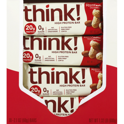 Think! High Protein Bars, Chunky Peanut Butter, Chocolate Dipped