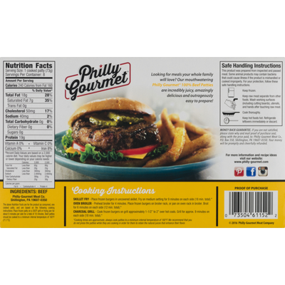 Philly-Gourmet Patties, 100% Pure Beef, 1/4 Pound
