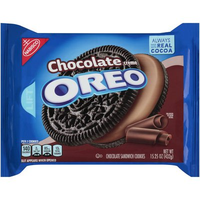 Oreo Chocolate Sandwich Cookies, Chocolate Flavored Creme, 1 Resealable Pack