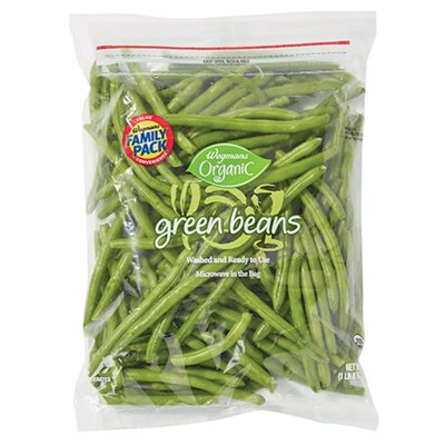 Wegmans Organic Cleaned and Cut Trimmed Green Beans, FAMILY PACK