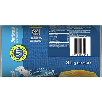 Pillsbury Grands! Southern Homestyle, Buttermilk Biscuits, 8 Count