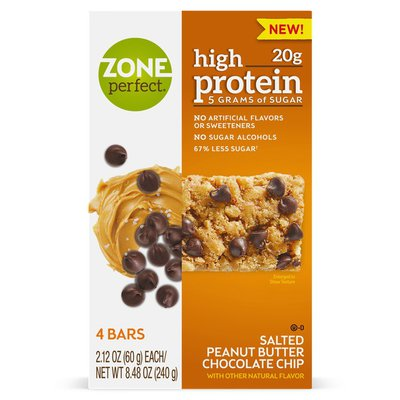 ZonePerfect High Protein Nutrition Bar Salted Peanut Butter Chocolate Chip