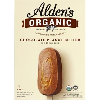 Alden's Organic Ice Cream Bars, Organic, Premium, Chocolate Peanut Butter