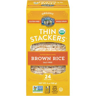 Lundberg Family Farms Thin Stackers Salt Free Organic Brown Rice Puffed Grain