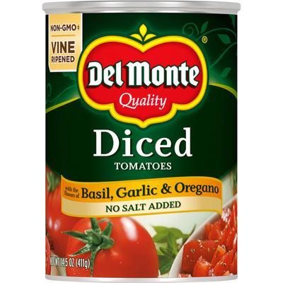 Del Monte Tomatoes, Basil, Garlic & Oregano, Diced