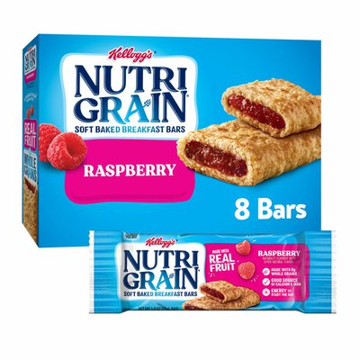 Kellogg's Nutri-Grain Soft Baked Breakfast Bars, Made with Real Fruit and Whole Grains, Raspberry