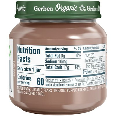 Gerber 2nd Foods Organic Pear Purple Carrot Raspberry Baby Food