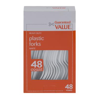Guaranteed Value Plastic Forks White - 48 CT
