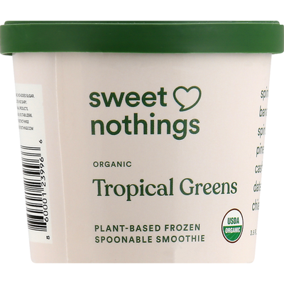 Sweet Nothings Frozen Spoonable Smoothie, Organic, Plant-Based, Tropical Greens