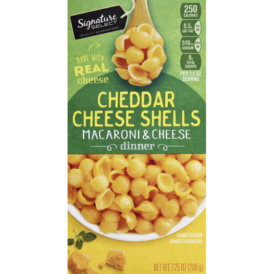 Signature Select Macaroni & Cheese Dinner, Cheddar Cheese Shells