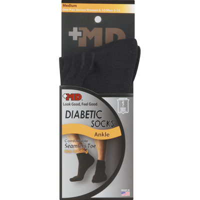 Md Socks, Diabetic, Ankle, Medium, Unisex