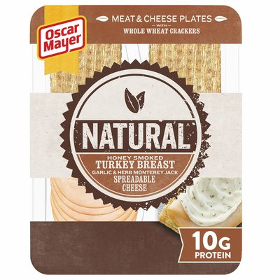 Oscar Mayer Meat & Spreadable Cheese Snack Plate with Honey Smoked Turkey, Garlic & Herb Jack Cheese & Whole Wheat Crackers