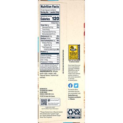 Quaker Instant Oatmeal Lower Sugar Maple & Brown Sugar