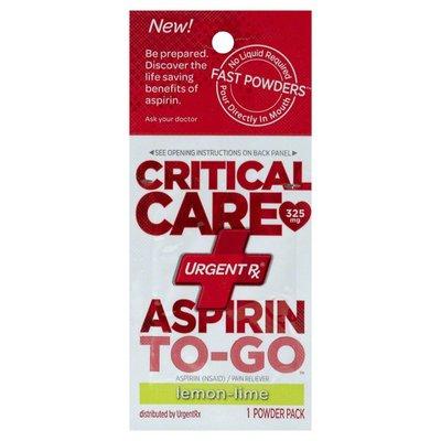 Urgentrx Aspirin, To-Go, Lemon-Lime, Powder Pack, Critical Care, Box