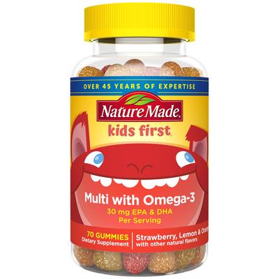 Nature Made Kids First® Multivitamin + Omega 3 Gummies - Strawberry, Lemon & Orange