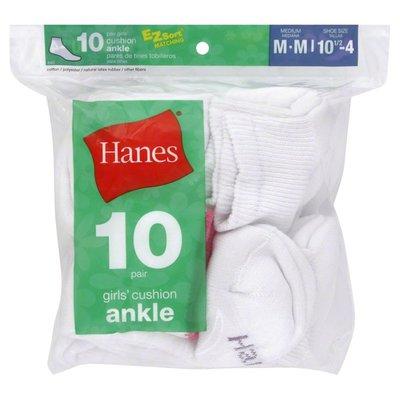 Hanes Socks, Cushion Ankle, Girls, Medium
