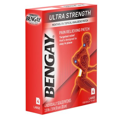 BENGAY Ultra Strength Pain Relieving Patch, 3.9 By 7.9 Inches