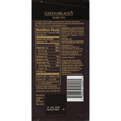 Green & Black's Chocolate Organic 70% Cacao Dark Chocolate Bar
