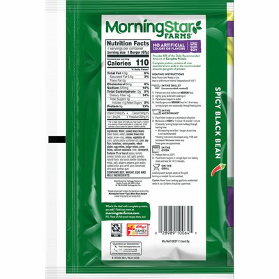 Morning Star Farms Veggie Burgers, Plant Based Protein, Frozen Meal, Spicy Black Bean