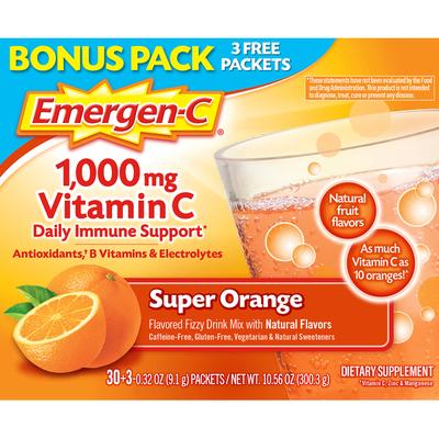 Emergen-C Vitamin C Super Orange Drink Mix Dietary Supplement