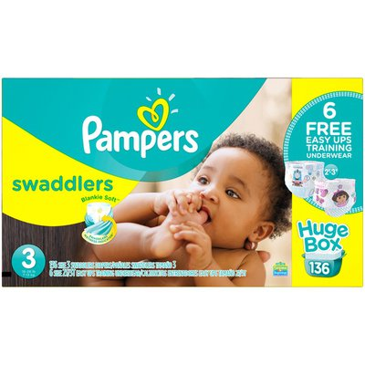 Pampers Swadlers Pampers Swaddlers Diapers Size 3 Bonus Pack 136 count Diapers