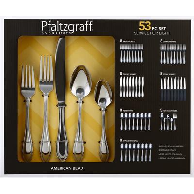 Pfaltzgraff Flatware, American Bead, 53 Piece