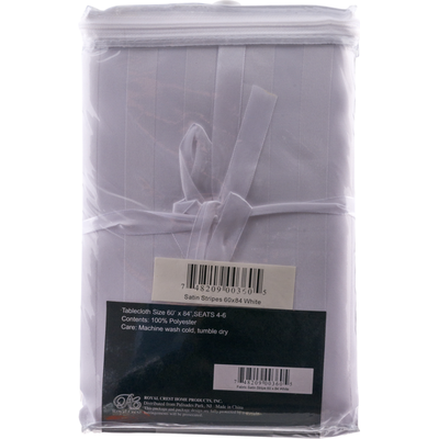 Royal Crest Tablecloth, Fabric, Satin Stripe, White