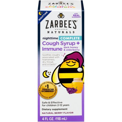 Zarbee's Naturals Children's Complete Cough Syrup + Immune Nighttime, Berry