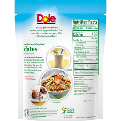 Dole California Whole Pitted Dates