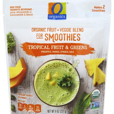 O Organics Organic fruit + Veggie Blend for Smoothies, Tropical Fruit & Greens
