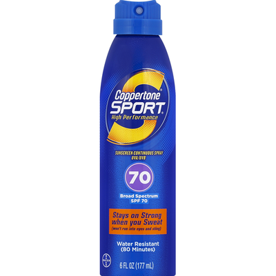 Coppertone Sunscreen, High Performance, Continuous Spray, Broad Spectrum SPF 70