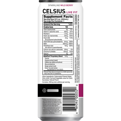 Celsius Sparkling Energy Drink Wild Berry