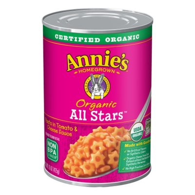 Annie's Organic Canned Pasta, All Stars, Pasta in Tomato & Cheese Sauce