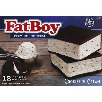 FatBoy Ice Cream Sandwiches, Cookies 'N Cream