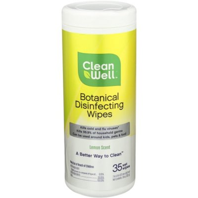 CleanWell Disinfecting Wipes, Botanical, Lemon Scent