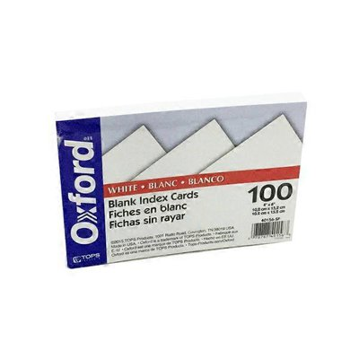 """Oxford Landing 4"""" x 6"""" White Blank Index Cards"""